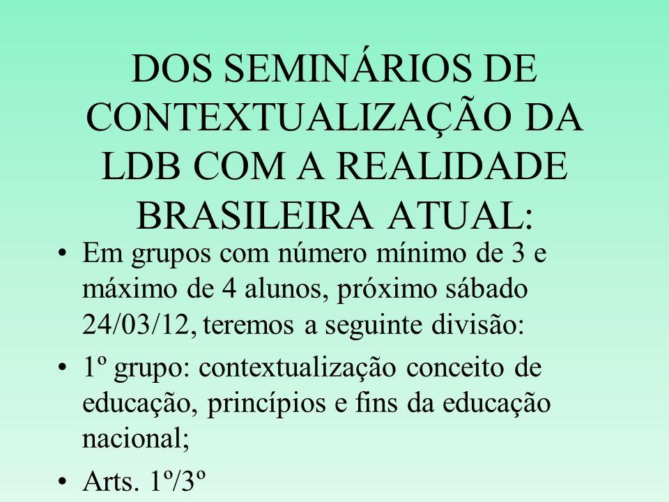 DOS SEMINÁRIOS DE CONTEXTUALIZAÇÃO DA LDB COM A REALIDADE BRASILEIRA ATUAL: