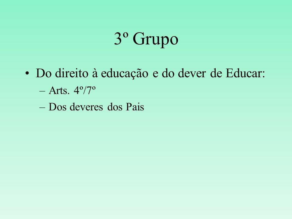 3º Grupo Do direito à educação e do dever de Educar: Arts. 4º/7º