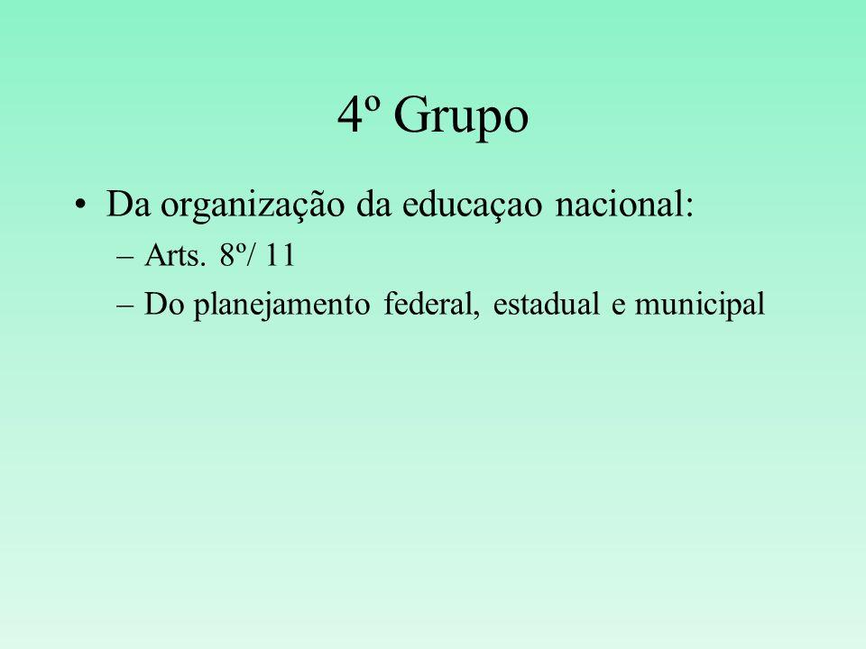 4º Grupo Da organização da educaçao nacional: Arts. 8º/ 11