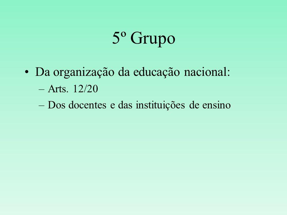 5º Grupo Da organização da educação nacional: Arts. 12/20
