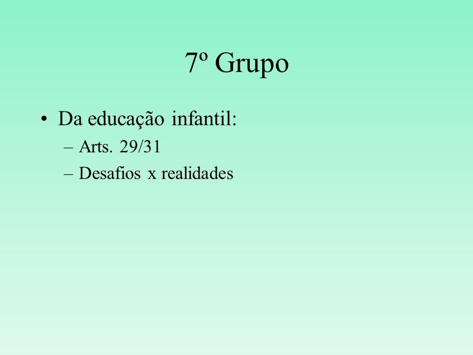 7º Grupo Da educação infantil: Arts. 29/31 Desafios x realidades