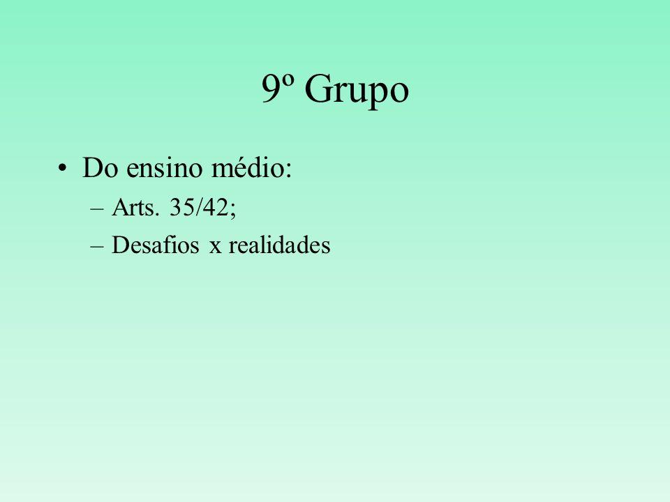 9º Grupo Do ensino médio: Arts. 35/42; Desafios x realidades