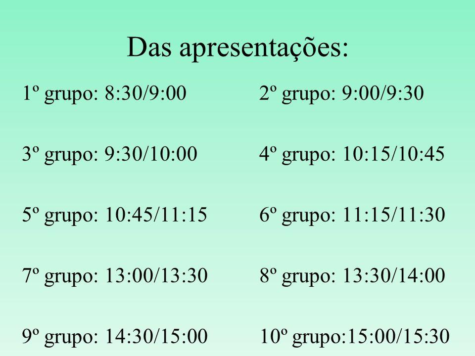 Das apresentações: 1º grupo: 8:30/9:00 2º grupo: 9:00/9:30
