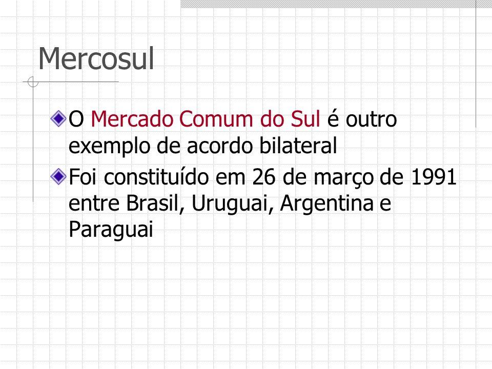 Mercosul O Mercado Comum do Sul é outro exemplo de acordo bilateral