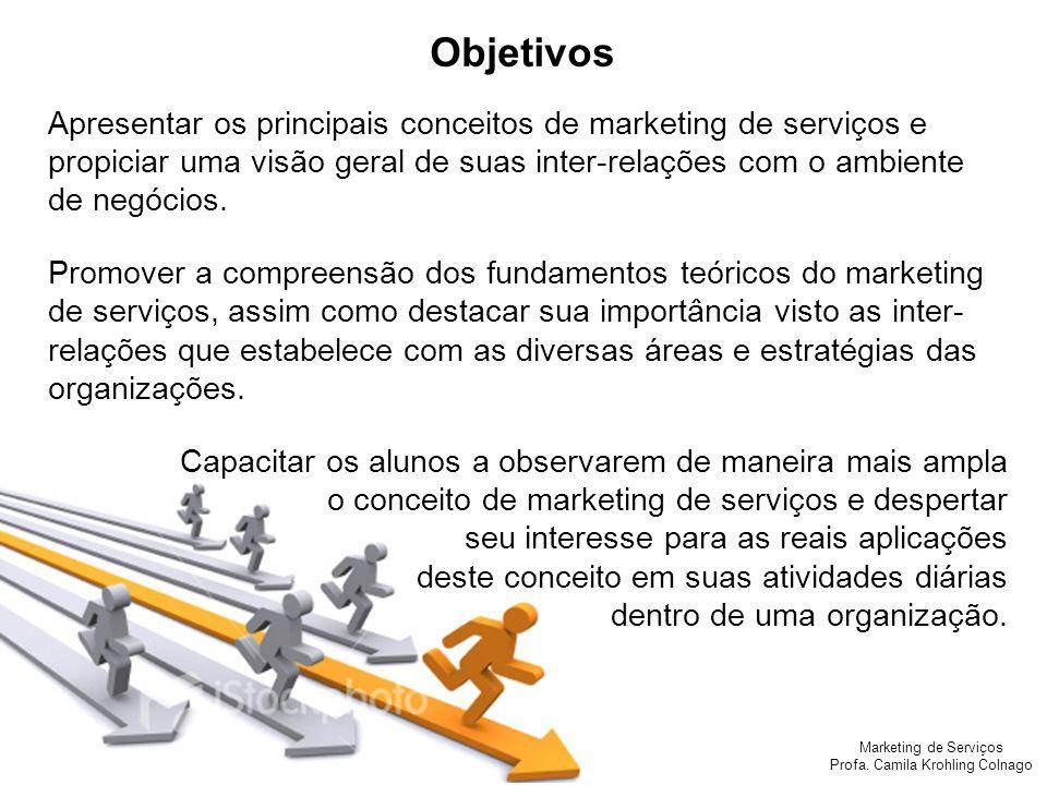 Objetivos Apresentar os principais conceitos de marketing de serviços e propiciar uma visão geral de suas inter-relações com o ambiente de negócios.