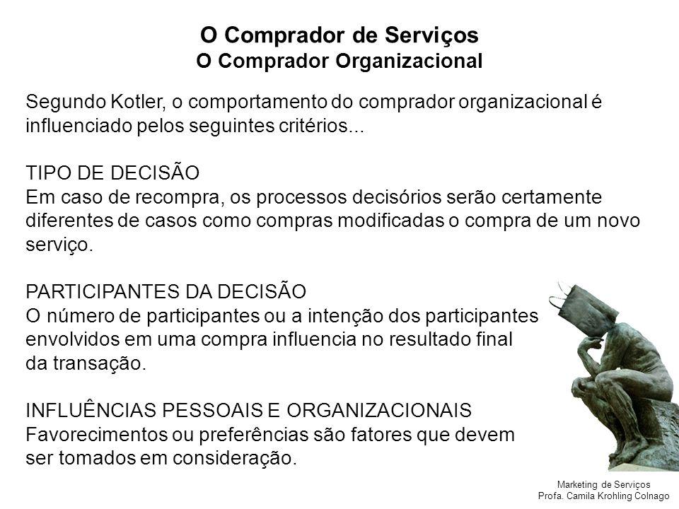 O Comprador de Serviços O Comprador Organizacional