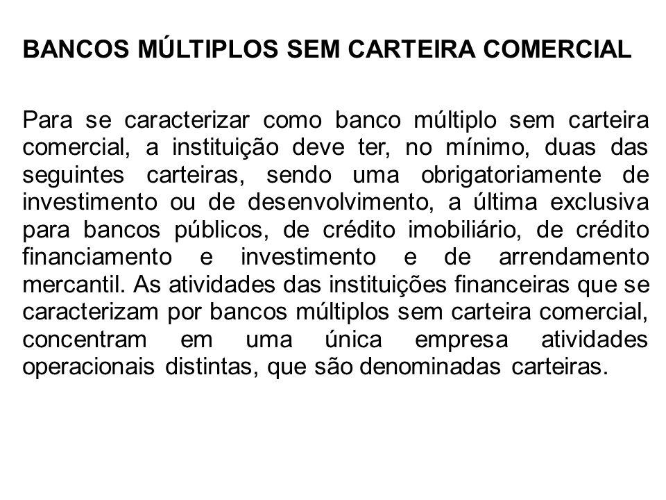BANCOS MÚLTIPLOS SEM CARTEIRA COMERCIAL