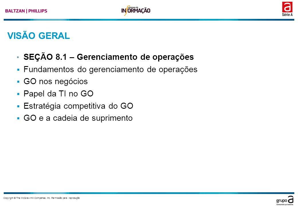 VISÃO GERAL SEÇÃO 8.1 – Gerenciamento de operações