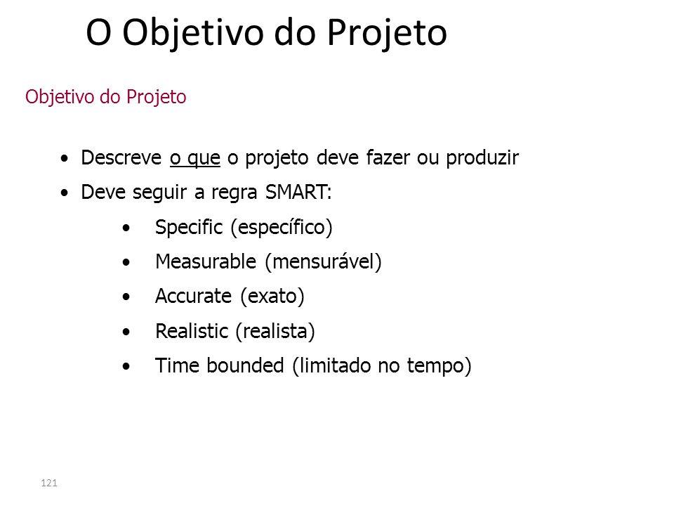 O Objetivo do Projeto Descreve o que o projeto deve fazer ou produzir