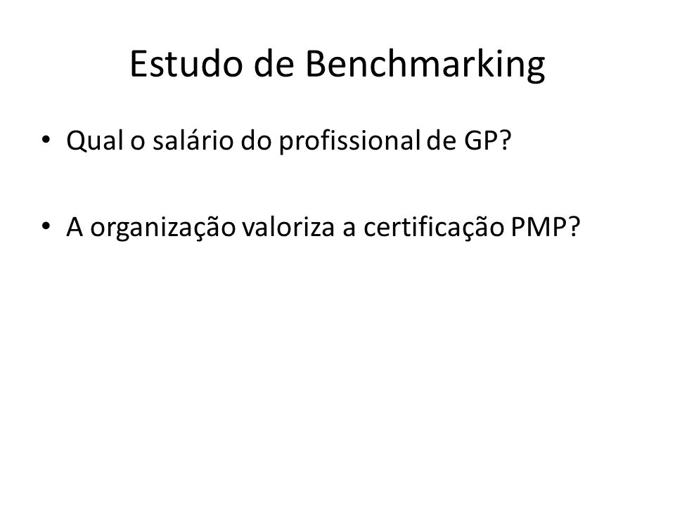 Estudo de Benchmarking