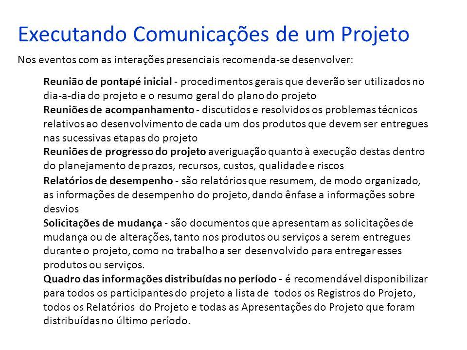 Executando Comunicações de um Projeto