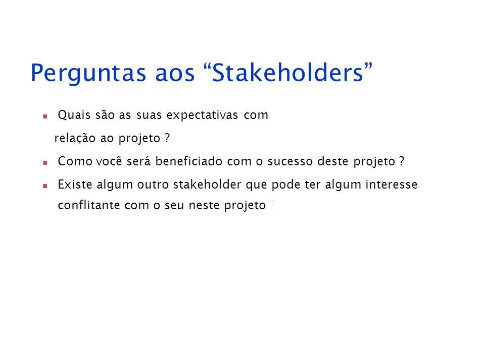 Perguntas aos Stakeholders