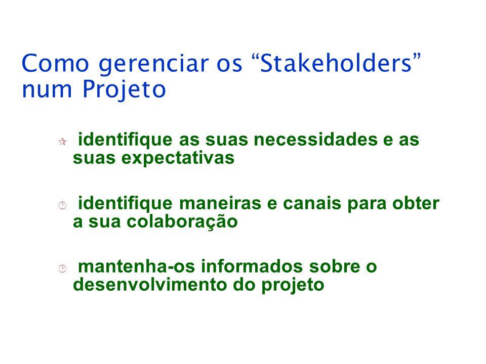 Como gerenciar os Stakeholders num Projeto
