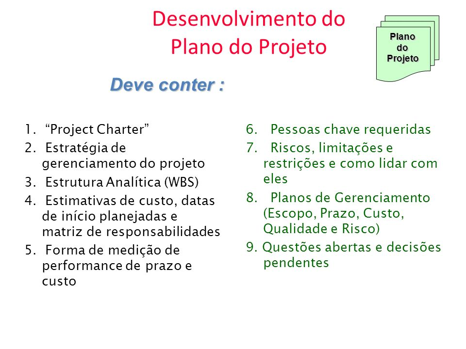 Desenvolvimento do Plano do Projeto