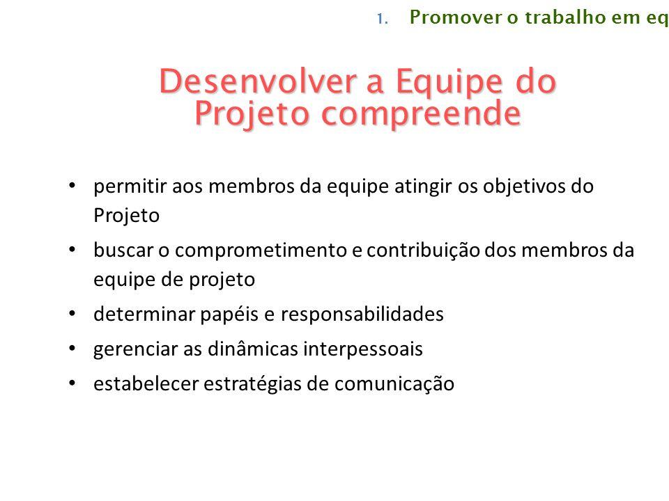 Desenvolver a Equipe do Projeto compreende