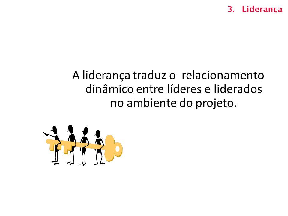 Liderança A liderança traduz o relacionamento dinâmico entre líderes e liderados no ambiente do projeto.