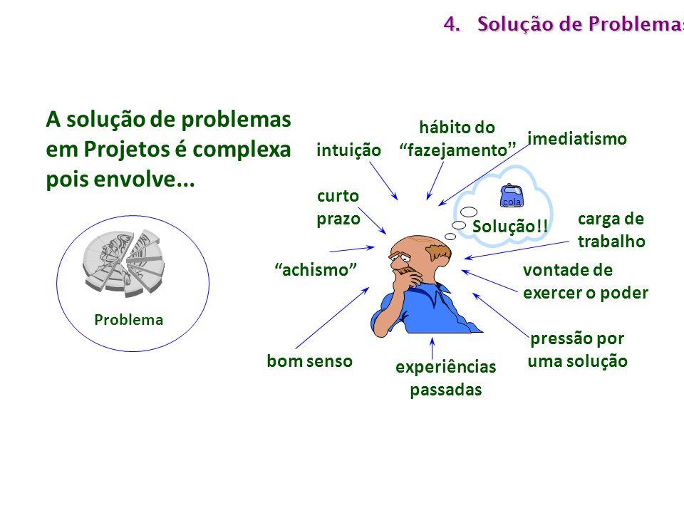 A solução de problemas em Projetos é complexa pois envolve...