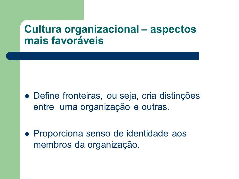 Cultura organizacional – aspectos mais favoráveis