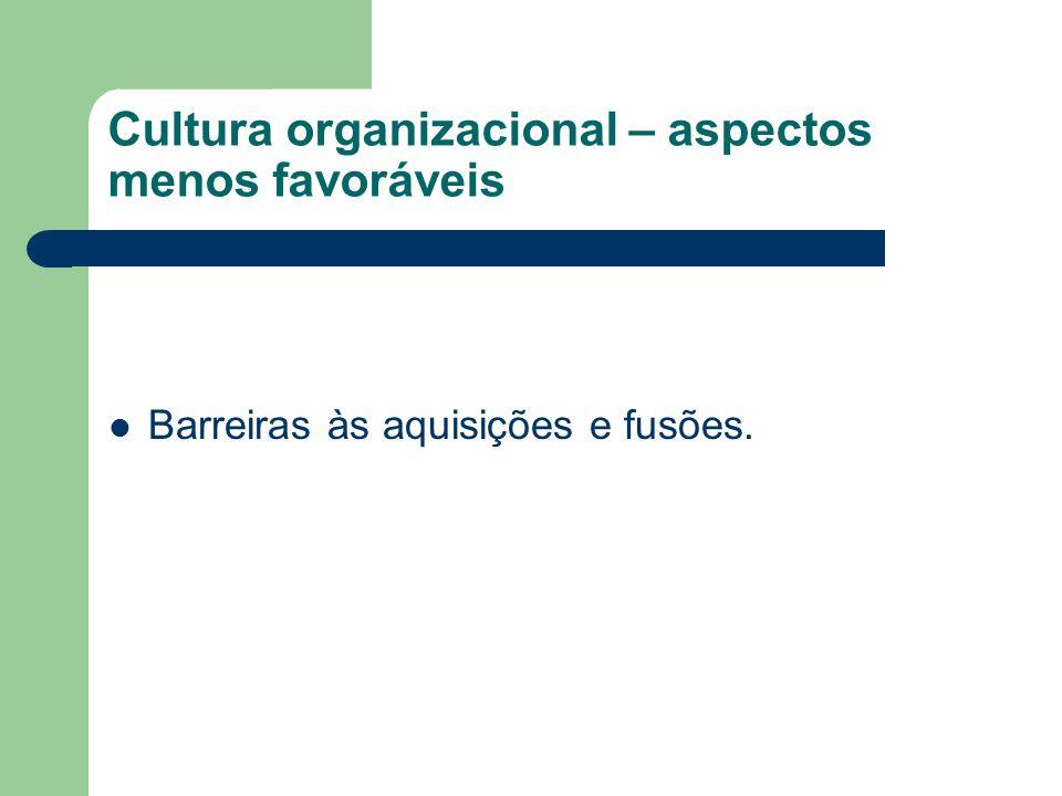 Cultura organizacional – aspectos menos favoráveis