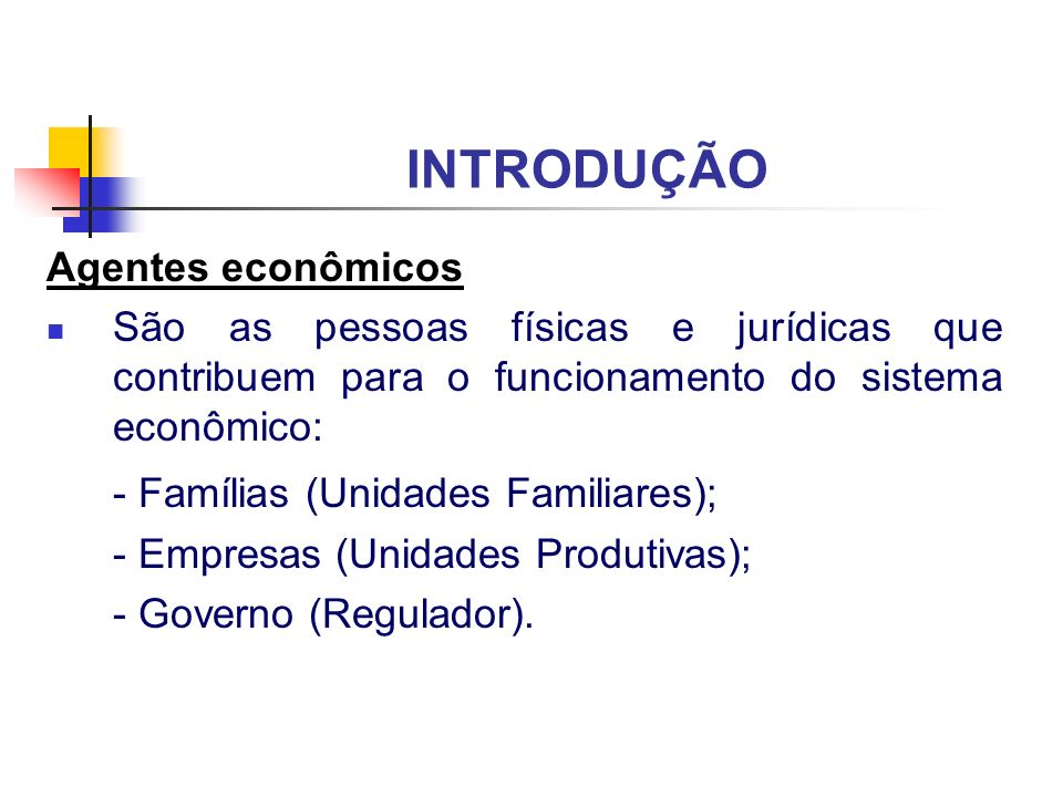 INTRODUÇÃO - Famílias (Unidades Familiares); Agentes econômicos