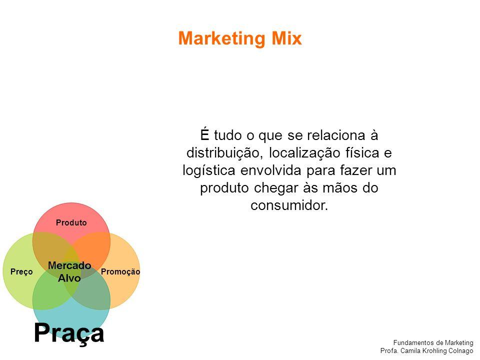 Marketing MixÉ tudo o que se relaciona à distribuição, localização física e logística envolvida para fazer um produto chegar às mãos do consumidor.