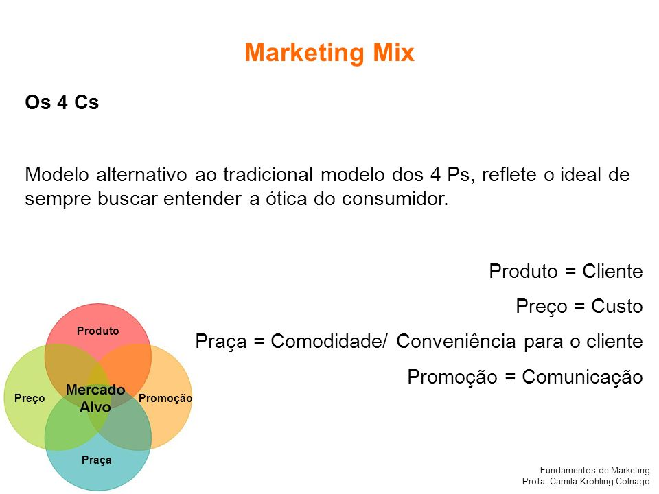 Marketing Mix Os 4 Cs. Modelo alternativo ao tradicional modelo dos 4 Ps, reflete o ideal de sempre buscar entender a ótica do consumidor.