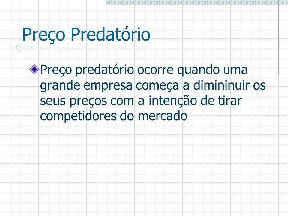 Preço Predatório Preço predatório ocorre quando uma grande empresa começa a dimininuir os seus preços com a intenção de tirar competidores do mercado.