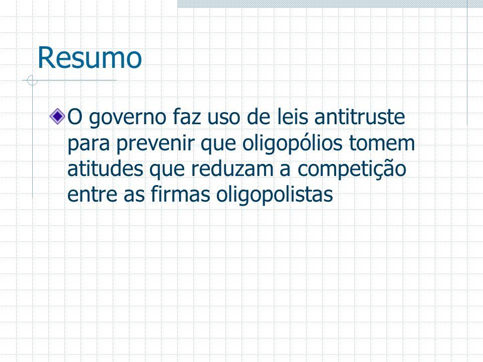 Resumo O governo faz uso de leis antitruste para prevenir que oligopólios tomem atitudes que reduzam a competição entre as firmas oligopolistas.
