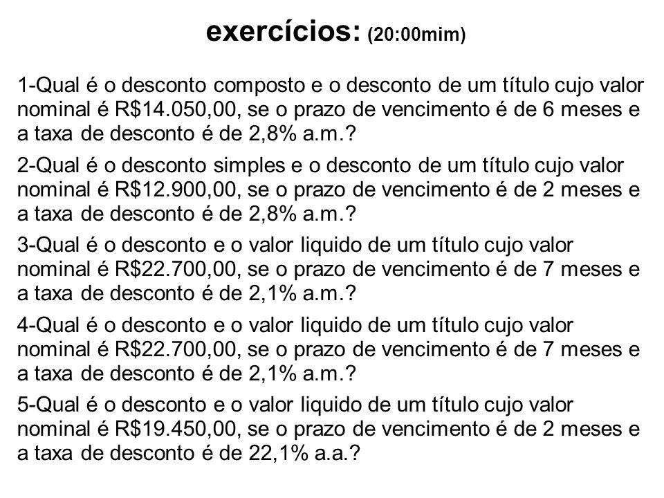 exercícios: (20:00mim)