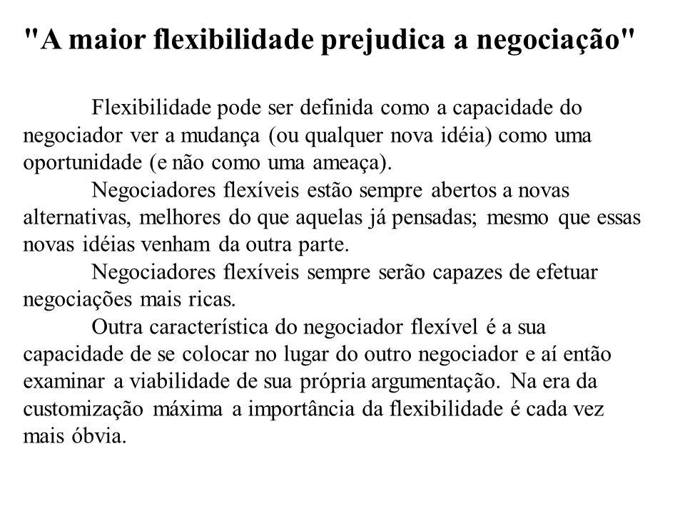 A maior flexibilidade prejudica a negociação