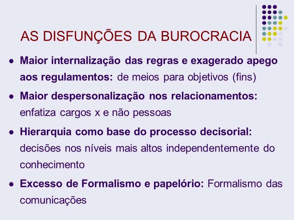 AS DISFUNÇÕES DA BUROCRACIA