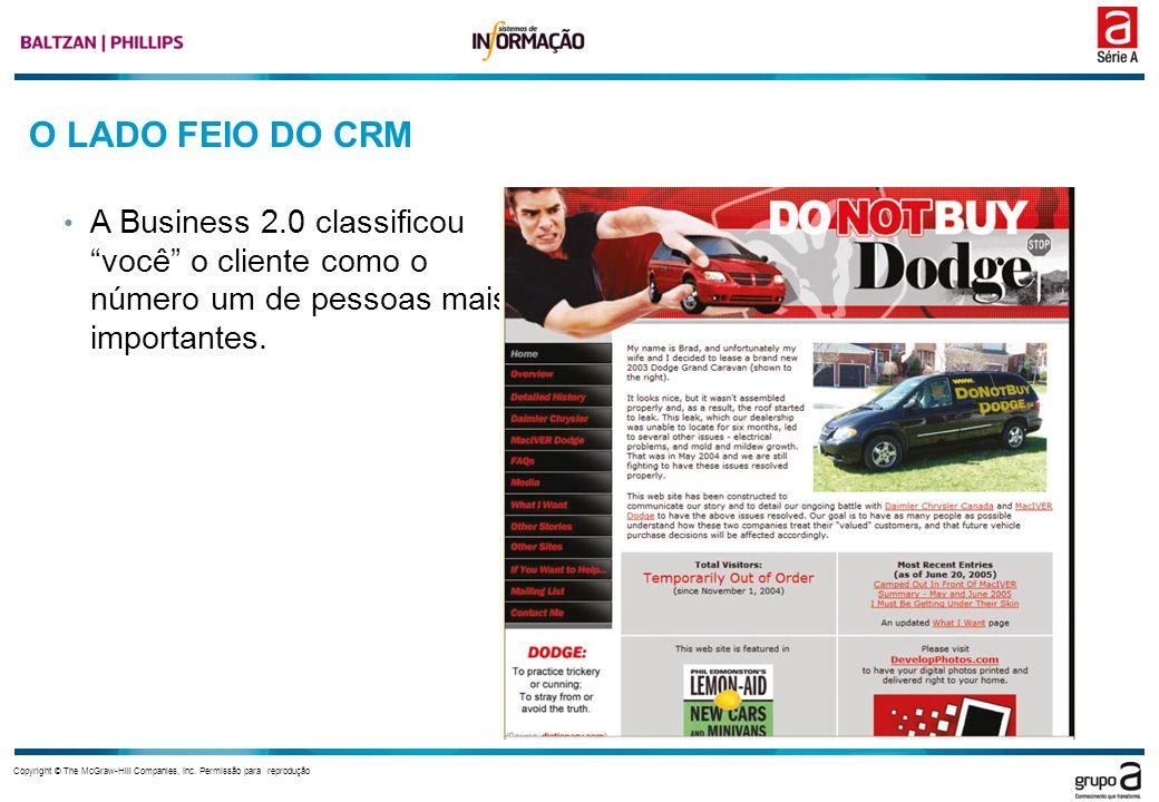 O LADO FEIO DO CRM A Business 2.0 classificou você o cliente como o número um de pessoas mais importantes.