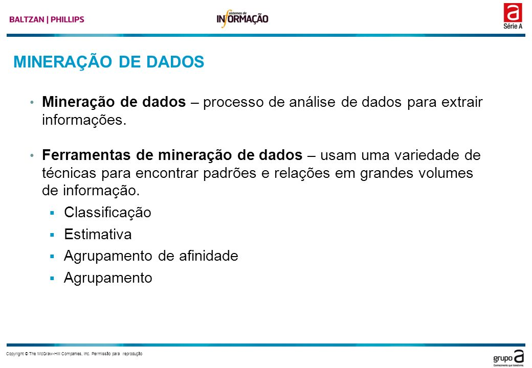 MINERAÇÃO DE DADOS Mineração de dados – processo de análise de dados para extrair informações.