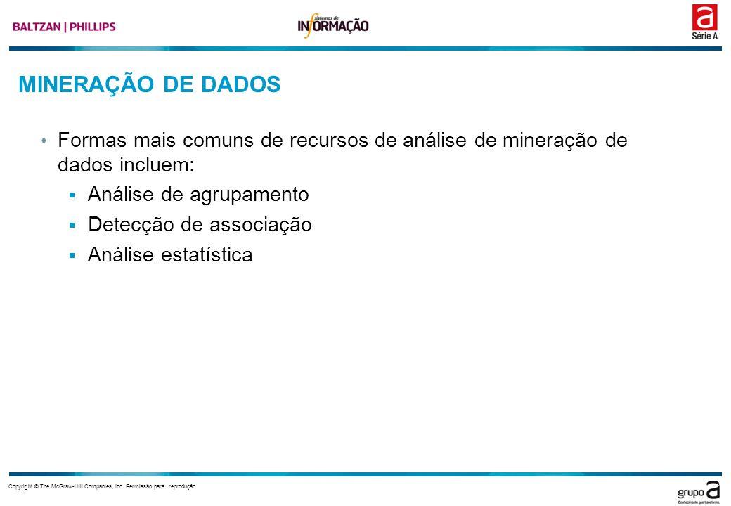 MINERAÇÃO DE DADOS Formas mais comuns de recursos de análise de mineração de dados incluem: Análise de agrupamento.