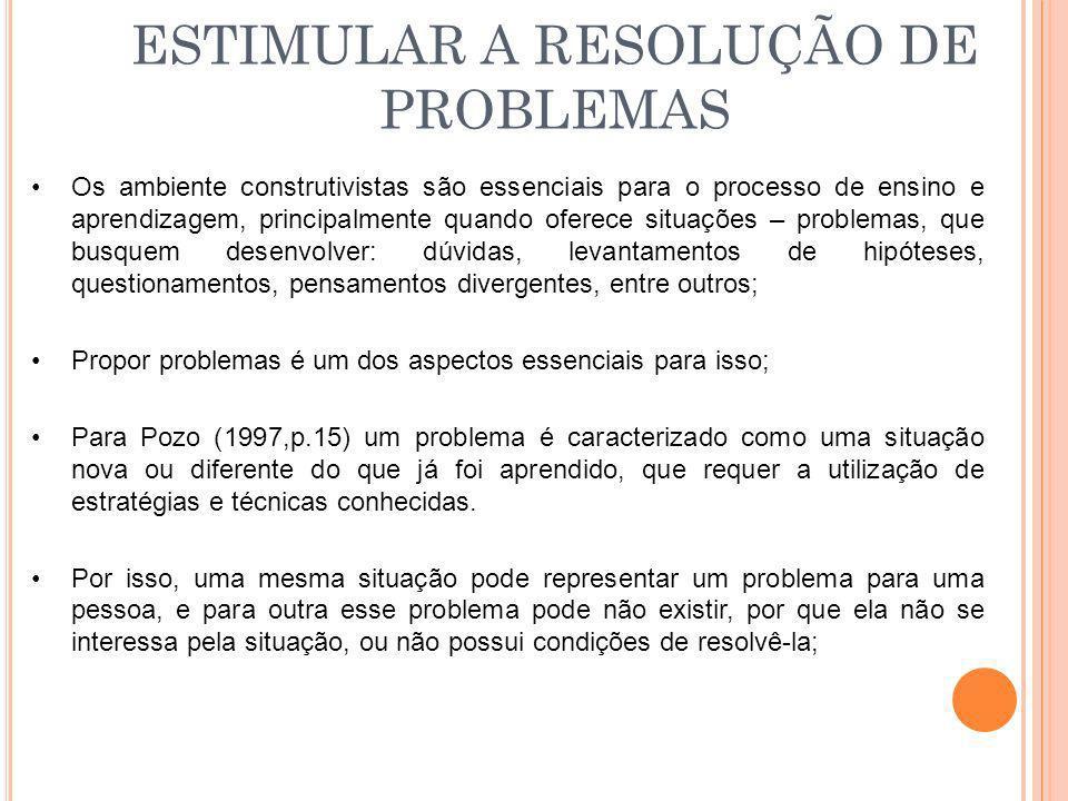 ESTIMULAR A RESOLUÇÃO DE PROBLEMAS