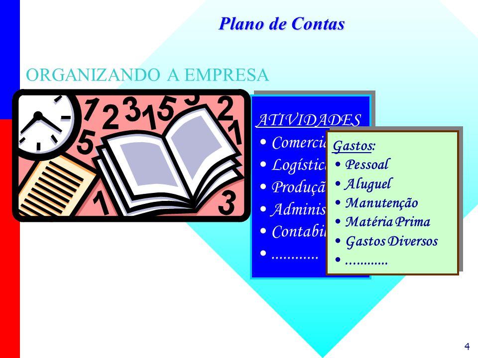 Plano de Contas ORGANIZANDO A EMPRESA ATIVIDADES Comercial Logística