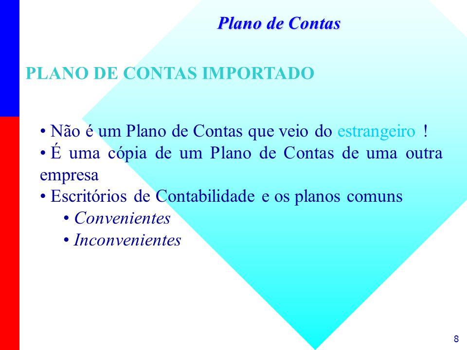 Plano de ContasPLANO DE CONTAS IMPORTADO. Não é um Plano de Contas que veio do estrangeiro ! É uma cópia de um Plano de Contas de uma outra empresa.