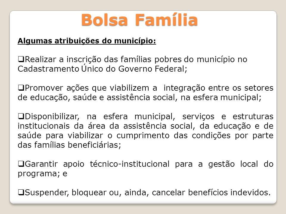 Bolsa Família Realizar a inscrição das famílias pobres do município no