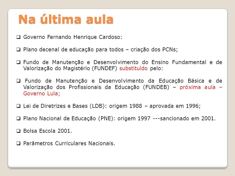 Na última aula Governo Fernando Henrique Cardoso: