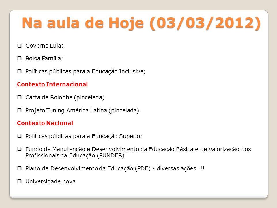 Na aula de Hoje (03/03/2012) Governo Lula; Bolsa Família;