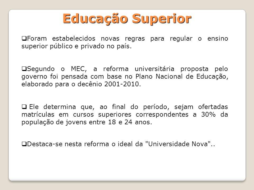 Educação SuperiorForam estabelecidos novas regras para regular o ensino superior público e privado no país.