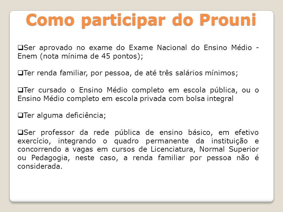 Como participar do Prouni