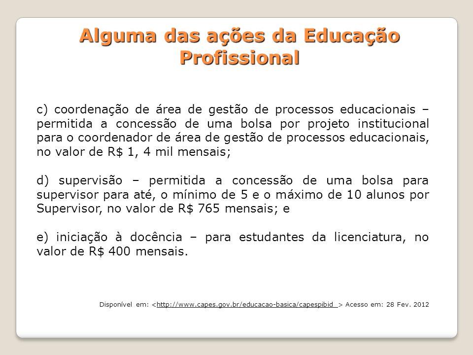 Alguma das ações da Educação Profissional