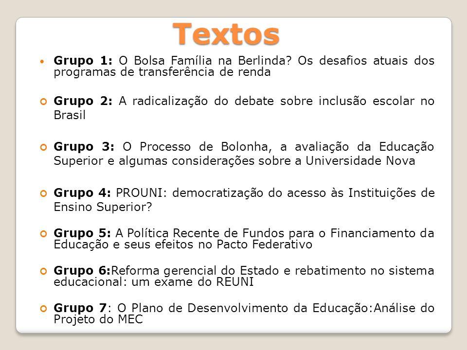 Textos Grupo 1: O Bolsa Família na Berlinda Os desafios atuais dos programas de transferência de renda.