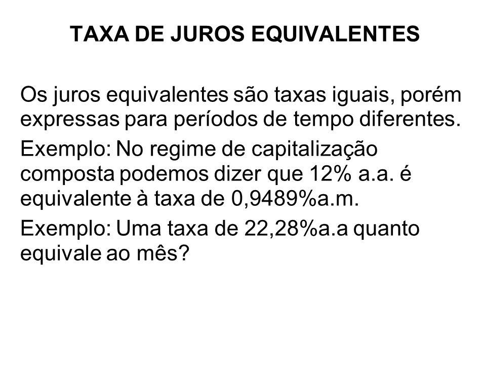 TAXA DE JUROS EQUIVALENTES