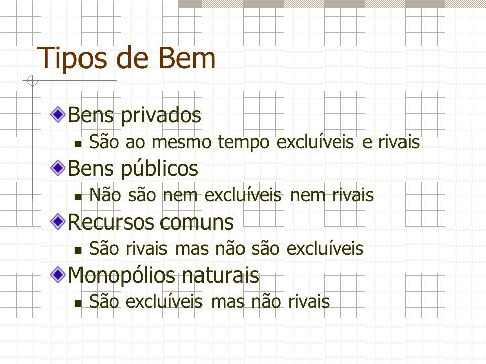 Tipos de Bem Bens privados Bens públicos Recursos comuns