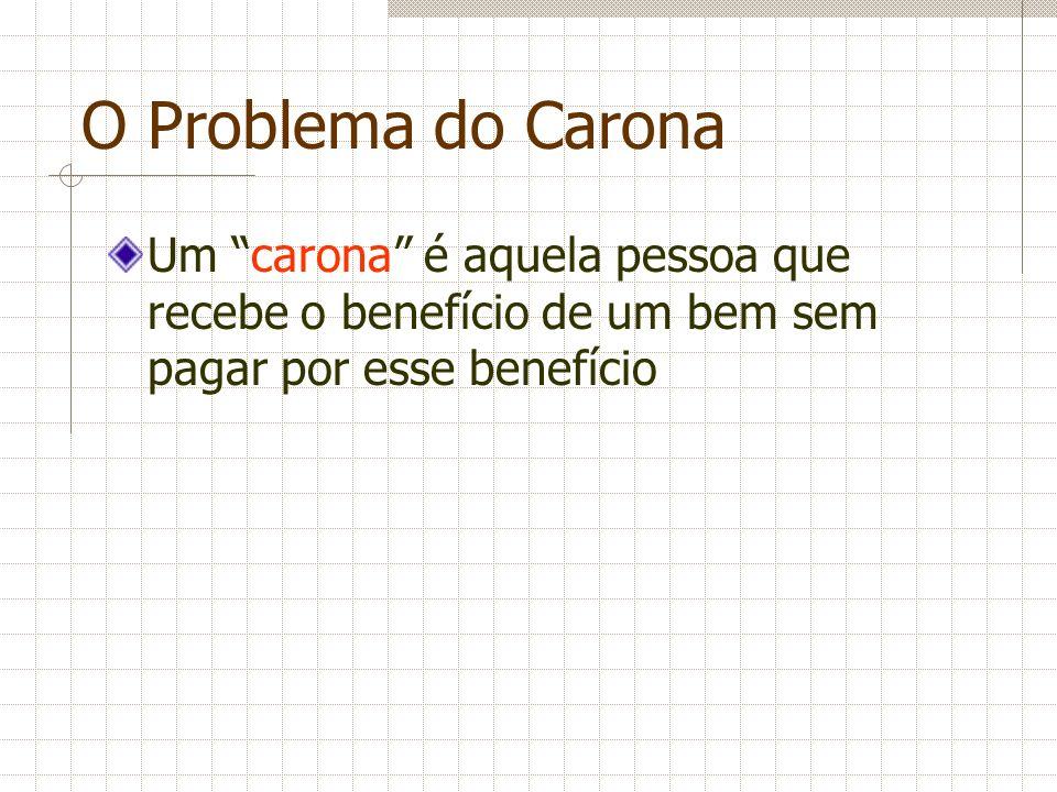 O Problema do Carona Um carona é aquela pessoa que recebe o benefício de um bem sem pagar por esse benefício.