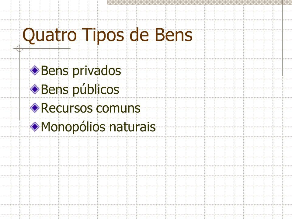 Quatro Tipos de Bens Bens privados Bens públicos Recursos comuns