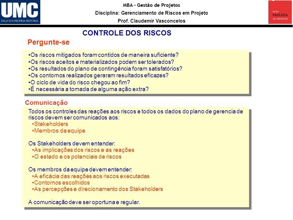 Entradas Registro CONTROLE DOS RISCOS Pergunte-se Comunicação