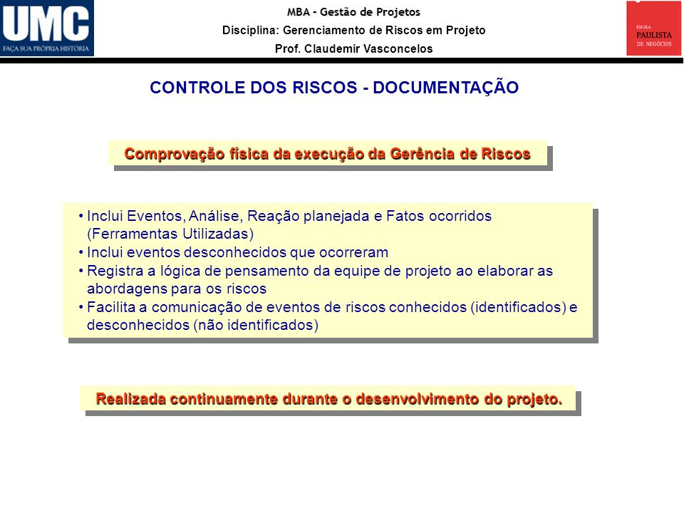 Entradas Registro CONTROLE DOS RISCOS - DOCUMENTAÇÃO